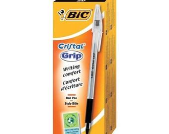 Bic Cristal Grip Ball Point Pens - Black Ink - Box Of 20 (802800)