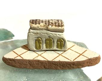 Clay House on Sea Pottery. Beach Ornament. Beach Lovers Gift. Coastal Art Decor. Little House. Ocean Home Decoration. Vitamin Sea.