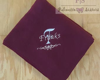 Personalized throw blanket, custom embroidered decorative fleece throw blanket,  monorgrammed gift home decor