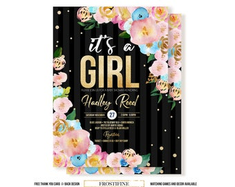 It's a girl baby shower invitation, DIY baby shower invitation, Black stripes with pink and blue flowers baby shower