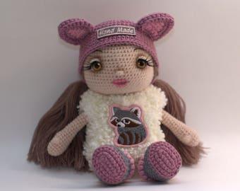 Crochet Doll, pink, white, handmade, amigurumi, doll