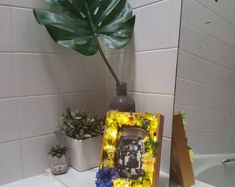 Valentine gift / home decor / unique gift -- gold floral LED frame --  Boho -- Romantic -- Rustic --Botanical - bedroom, nursery