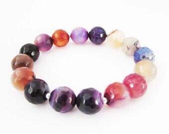 Rainbow Gemstone Bracelet, Stretch Agate Gemstone Bracelet for Women, Colourful Gemstone Stretch Bracelet, Multi Colour Beaded Bracelet