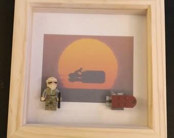 Lego Star Wars Rey Speeder minifigure framed art