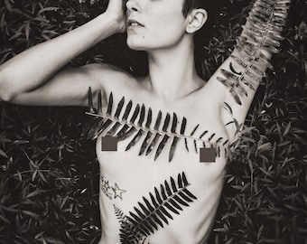 Ferns (Mature) - Fine art black and white photography print, female nude with fern leaves