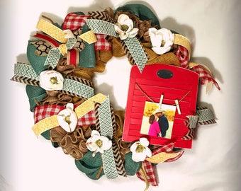 picture wreath- ruffle burlap  Wreath - Burlap floral