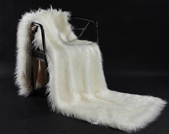 Lamb Wool Faux Fur Long Weight Blanket - Mongolian, Long Hair, weight Blanket, Throw Blanket, Faux Fur Throw