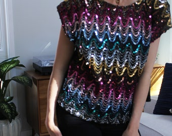 Rainbow Black & Gols Disco Sequin Striped Blouse