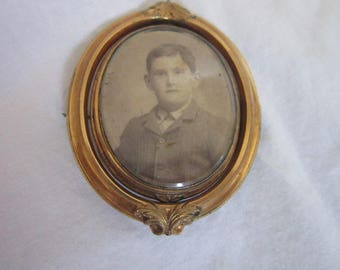 Antique 19th C Gold Filled Mourning Photo Locket Brooch Large Double Sided