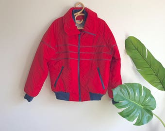Vintage Red Ski Jacket / Red Ski Coat Size Large Mens ski Jacket