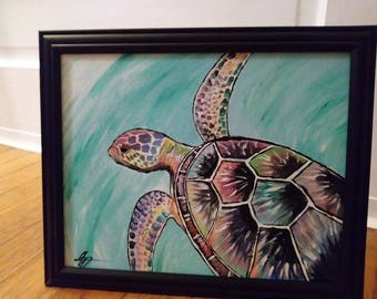 Abstract Sea Turtle painting