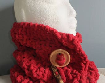 Red chenille scarf