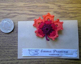 Handmade Crocheted Colourful Leaf Brooch by Emma Frances Boutique