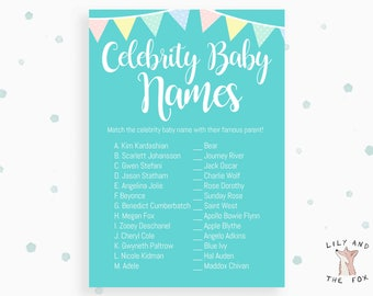 Baby Shower Celebrity Baby Names Game - PRINTABLE