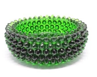 Vintage FENTON Emerald Green Glass Hobnail Ashtray Trinket  Jewelry