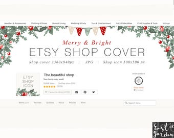 Merry and Bright Etsy Shop Cover and icon. Christmas decor. DIY cover and icon. Holiday decor for blog, shop, social media cover, icon kit.