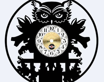 OWL Carved Vinyl Disc Watch