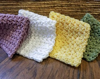 Crochet cotton spa washcloth set