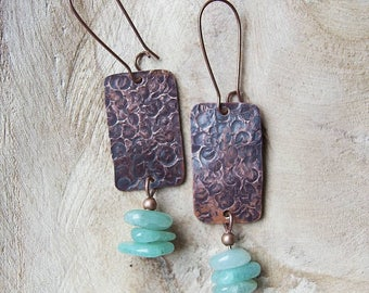 Hammered oxidized copper jade earrings