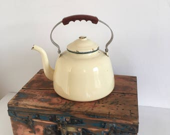 Large Vintage French Enamel Stove Top  Kettle