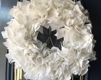 White Fabric Wreath