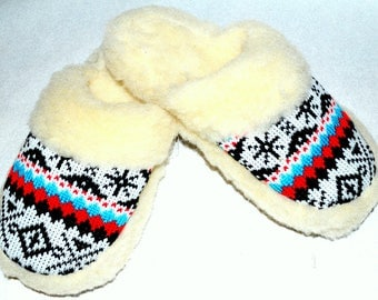 Sheepskin sleepers, winter slippers, warm slippers, wool shoes, leather women shoes, Xmas gift