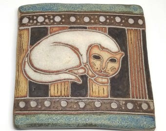 Decorative Ceramic Wall Hanging/Tile by Maria Geurten of a Sleeping Cat