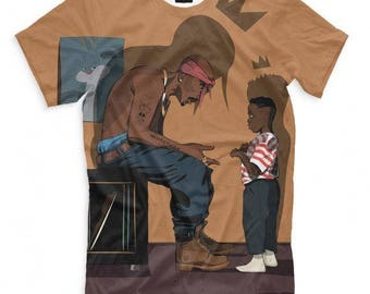 Tupac Shakur 2Pac Art Full Print T-Shirt All Sizes XS-6XL