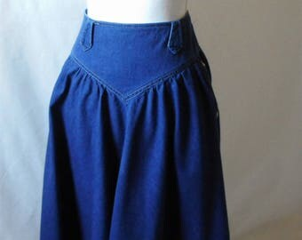 Vintage Circle T by Marilyn Williams Western Prairie Maxi Denim Skirt