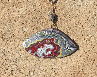One of a kind Fordite Detroit Agate necklace pendant