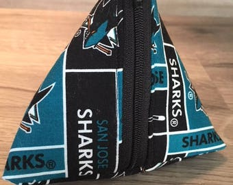 Triangle Coin Pouch, Zippered Pouch, Game Bag, San Jose Sharks