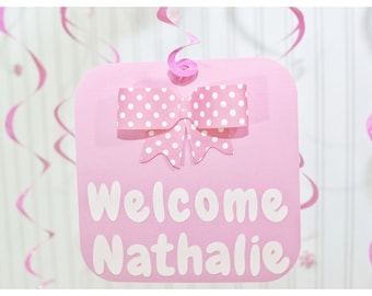 Girl bow decor, big bow, swirly, decorations, personalised, welcome baby girl party, welcome to the world, baby girl, baby, 3d, pink bow