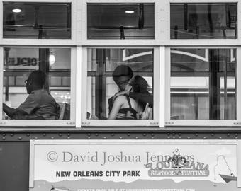 Young Love - Street Car on Canal Street - New Orleans 2016 - Fine Art Photograph - Street Photography - Black and White - French Quarter