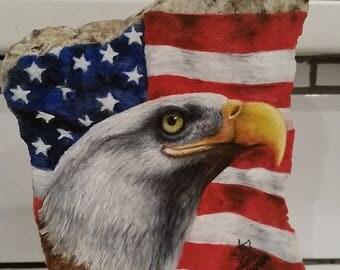 Patriotic Eagle Oil Painting on Granite by Darlene Vivian
