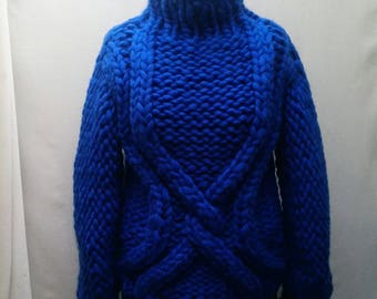Handmade knitted chunky merino wool pullover