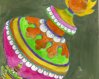"The Treasure vase-collage and drawing from 2004 series ""De Glück symbols"""