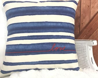 Love pillow cover, navy striped.