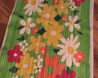 Flower Power Loom Woven Scatter Rug