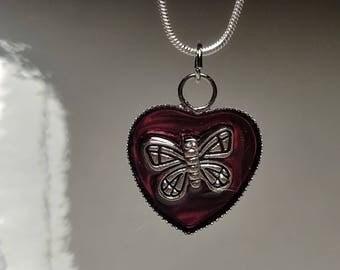 Pink heart butterfly pendant