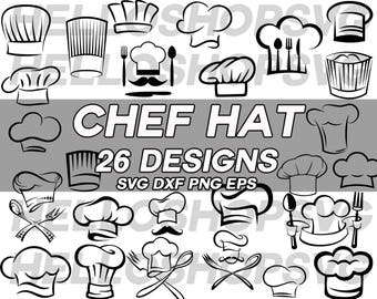 chef hat svg, cook hat svg, cook svg, kitchen svg, chef svg, chef cap, clipart, decal, stencil, silhouette, eps, png, cut file, iron on