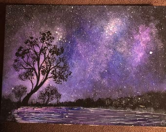 Hand painted one of a kind magnet night sky