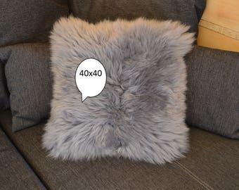 Sheepskin Pillow Gray