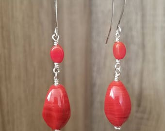 Silver Plated, Reddish Orange Glass Swirl, Drop Earring