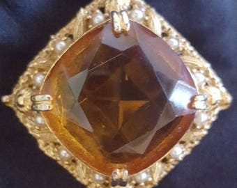 Vintage square amber glass stone brooch