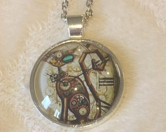 Steampunk Cat Pendant Necklace/Necklace for Her/Steampunk Necklace/Clocks/Cats/Gift for Her/Steampunk