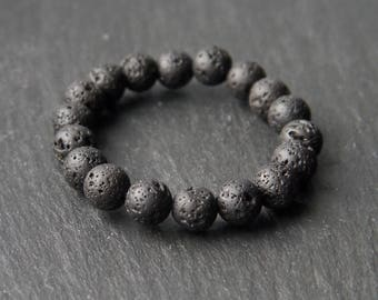 All Natural Calming Lava Rock Stretch Cord Bracelet - Healing and psychic properties - essential oil diffuser.