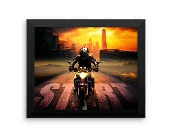 Motorcycle Start Framed photo paper poster