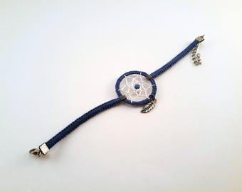 Blue/white dream catcher bracelet