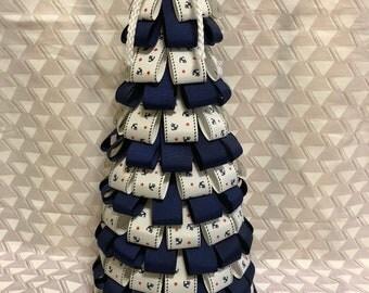 Anchor ribbon tree, ribbon tree, nautical decor, anchors, blue ribbon, nautical decoration, beach decor