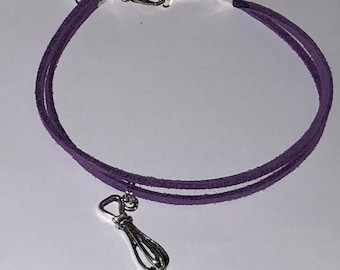 Purple Whisk Charm Bracelet/Cake Maker Gift/Faux Suede Whisk Charm Bracelet/Bakers Gift Idea/Gift for a Baker/Gift for a Cake Maker